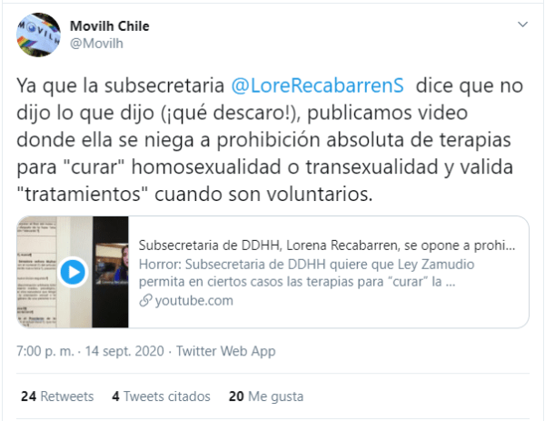 La organización Movilh Chile reprochó las declaraciones de Renata Recabarren sobre 'terapias de conversión'.