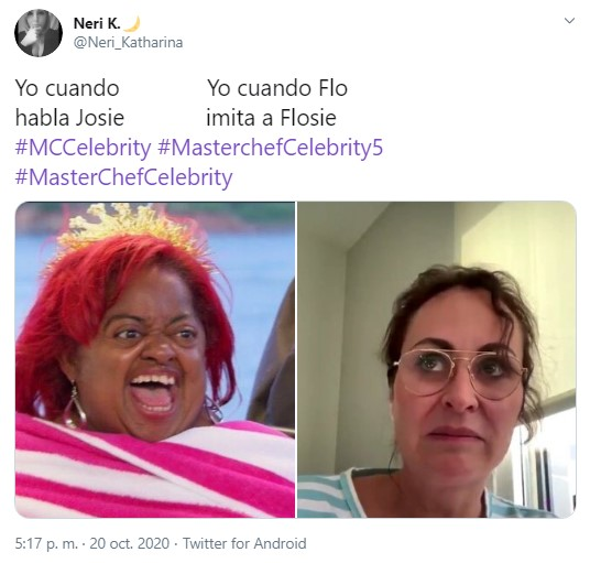 Captura de tuit sobre masterchef celebrity