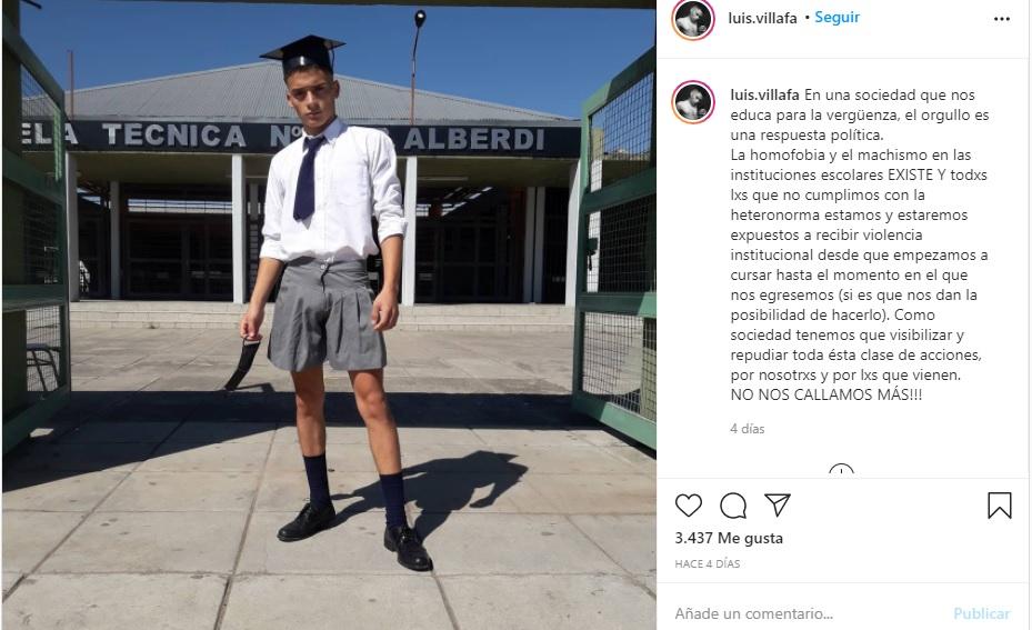 Chico de secundaria va con falda a su graduación