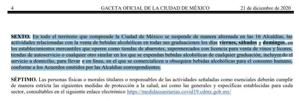 ley seca medidas sanitarias CDMX