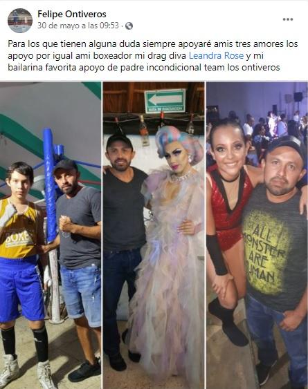 Mensaje de Felipe Ontiveros para la drag queen Leandra Rose