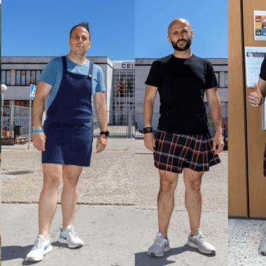 Maestros que dan clases contra la homofobia usando falda