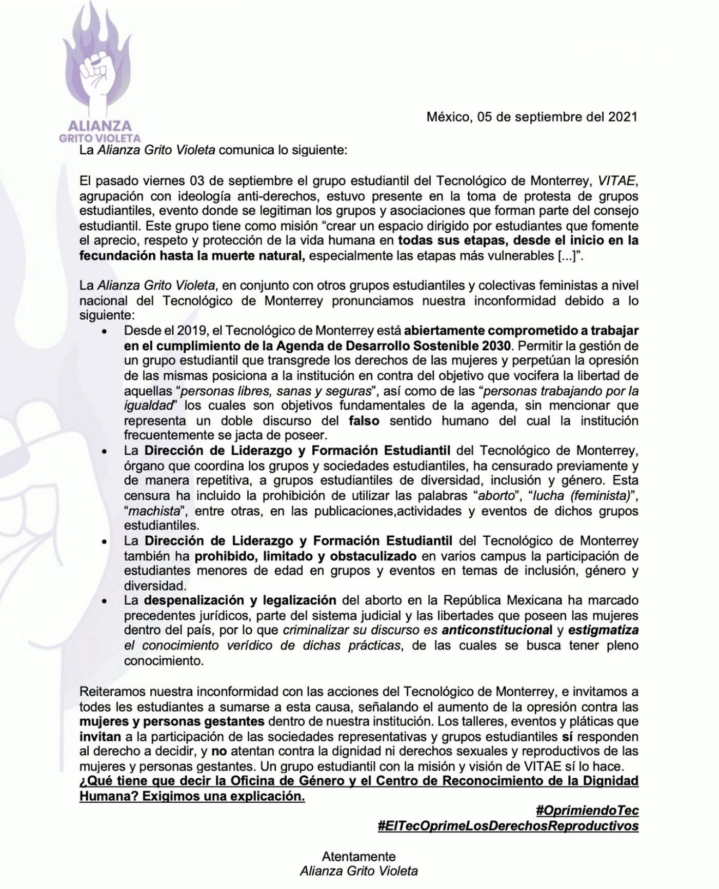 Tec de Monterrey censura a grupos estudiantiles feministas y LGBT+