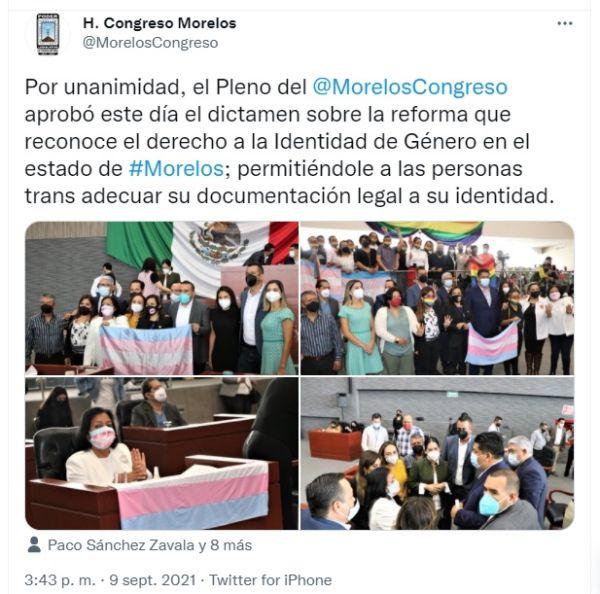Aprueban ley de identidad de género en Morelos