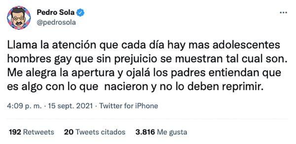 Pedro Sola padres adolescentes gay