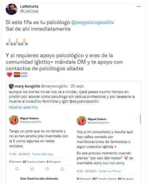 Miguel Subero psicólogo LGBTfóbico