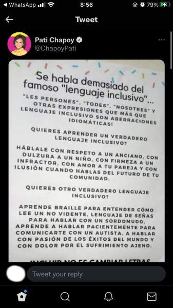 pati chapoy tuit lenguaje inclusivo Twitter