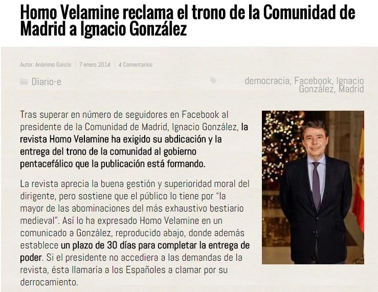 Homo Velamine reclama el trono de la Comunidad de Madrid a Ignacio González