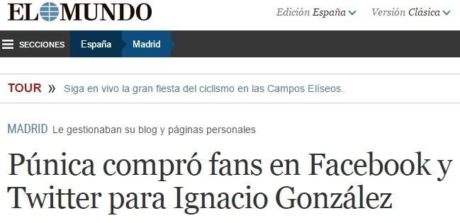Púnica compró fans en Facebook y Twitter para Ignacio González