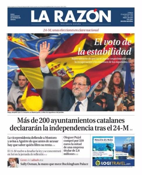 """Portada de La Razon: """"El voto de la estabilidad"""""""