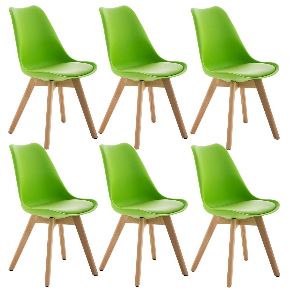 Conjunto de 6 Sillas de Comedor LOREN Color Verde y Patas