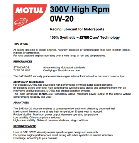Motul 300V high rpm oil