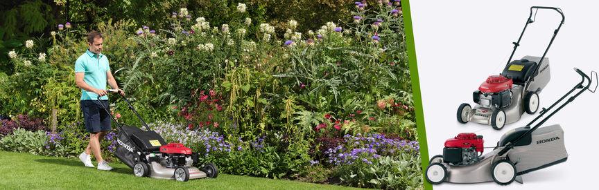 Links Honda Rasenmaher Dreiviertelfrontansicht Nach Rechts Zeigend Verwendung Nach Modell Gartenumgebung