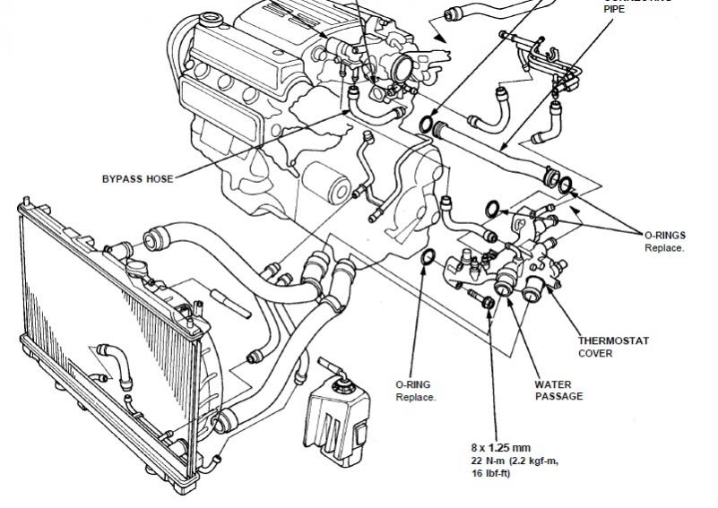 1996 accord 2.7 radiator hose to thermostat housing