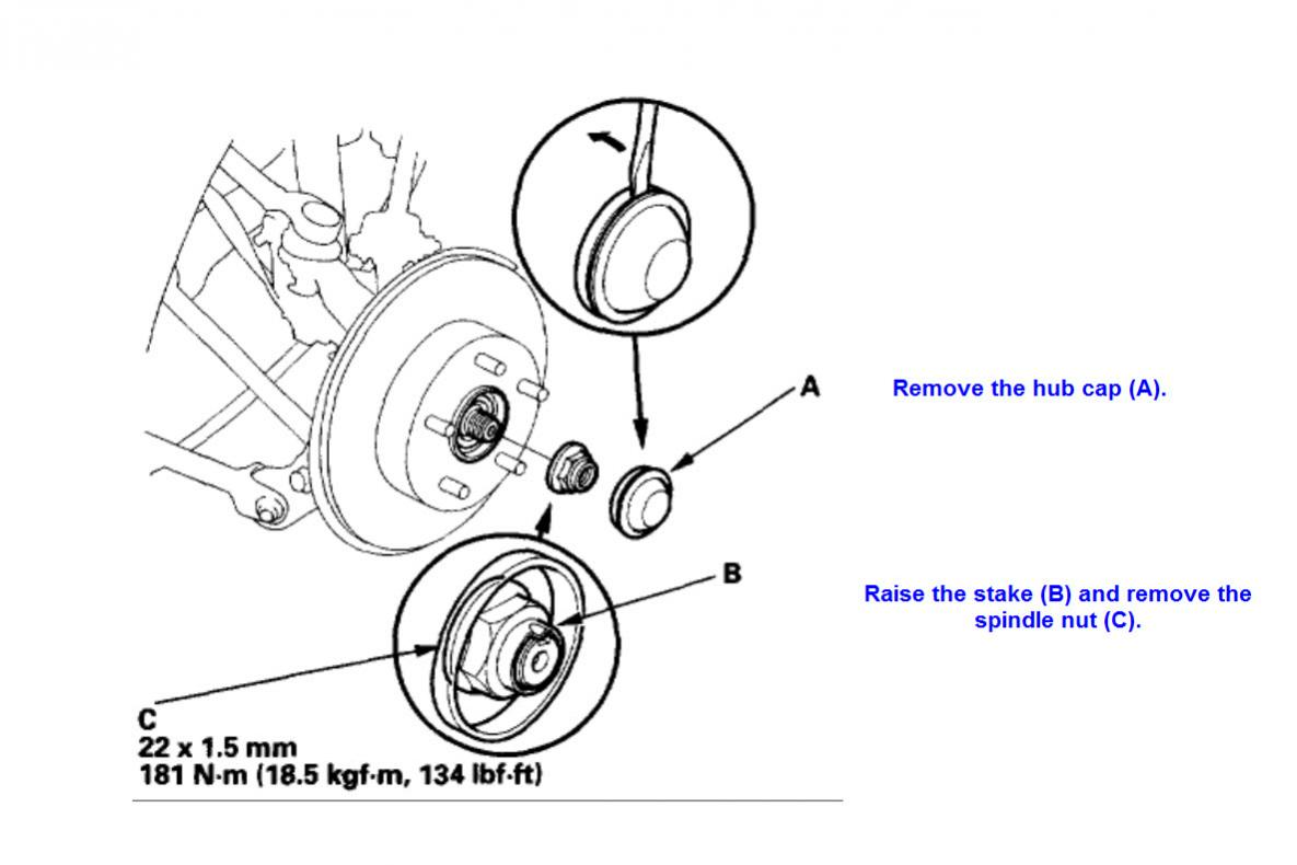 hight resolution of  2006 accord ex rear wheel bearings replacement spindle nut jpg