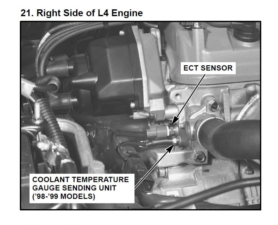 Oxygen Sensor Diagram Coolant Temperature Sensor Location Honda Accord