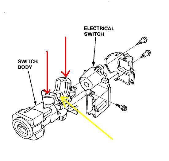 95 ignition lock cylinder switch keys honda civic us393 ignition