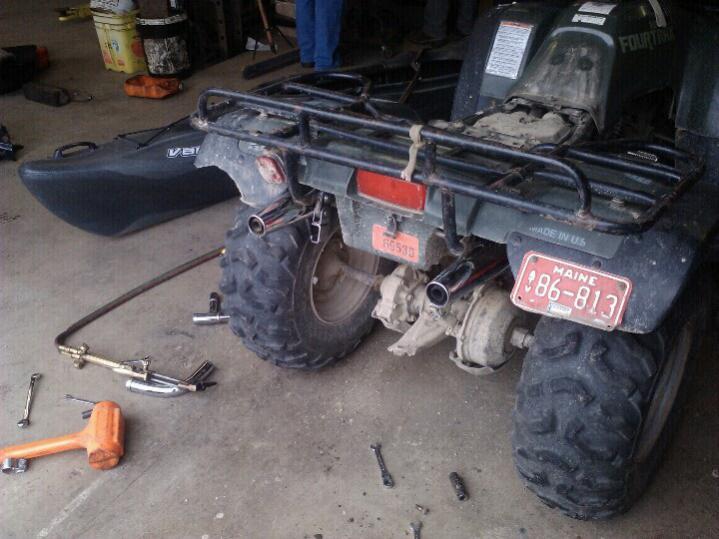 dual exhaust 300 4x4 honda atv forum