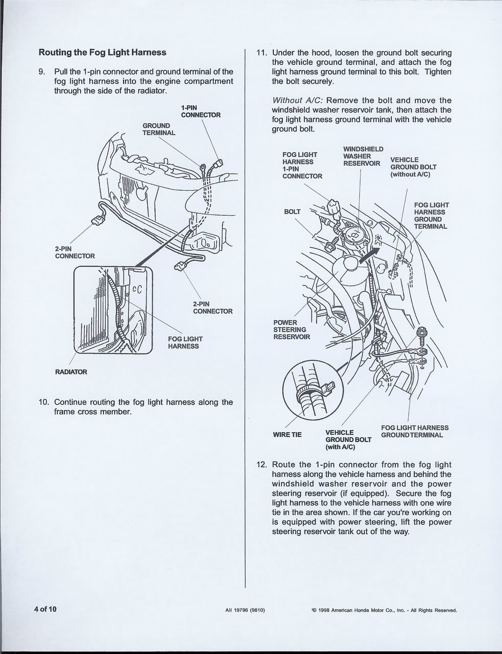 2000 Civic Fog Lights Wiring Diagram Trusted Diagrams Auto Light Installation