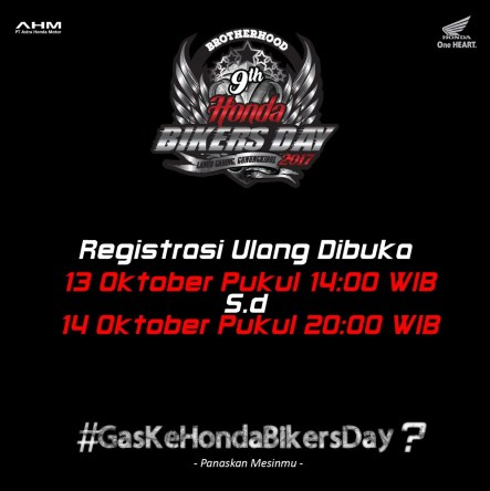 Cara Registrasi Ulang Honda Bikers Day 2017