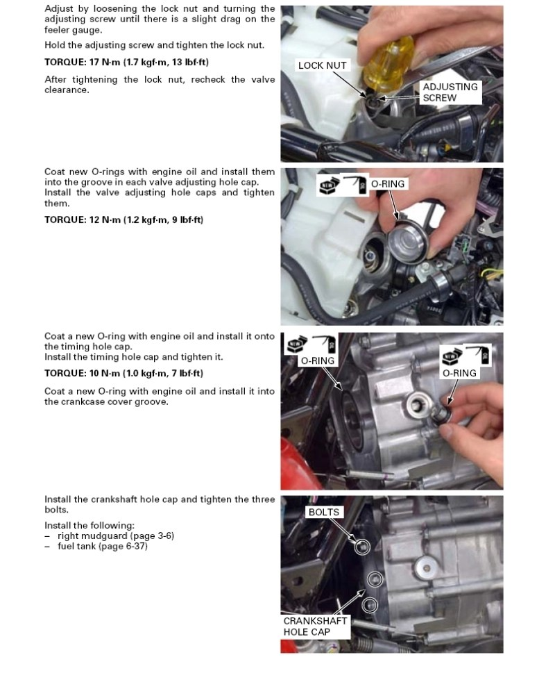 hight resolution of valve adjustment procedures rancher 420 all honda wiring diagram for honda foreman 500 wiring diagram for