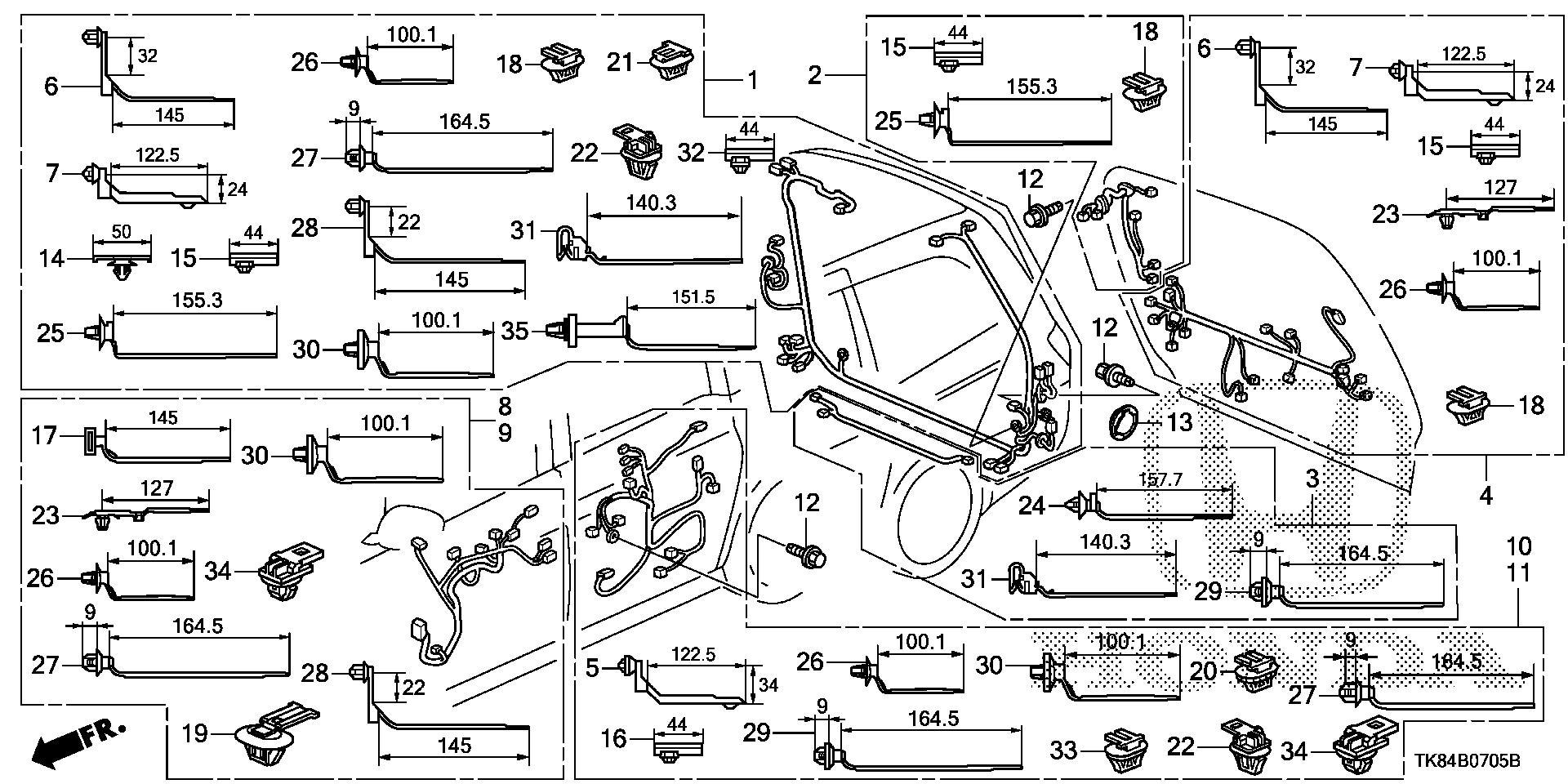 Honda Odyssey Sub-wire, rear bumper. System, ignition