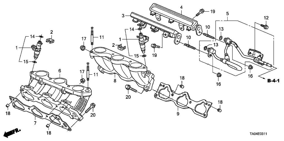 2010 Honda Accord 4 Door EX-V6 KA 5AT Fuel Injector (V6)