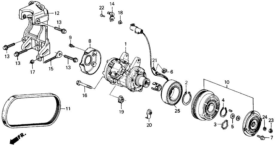 1989 Honda Accord 2 Door LXI KA 4AT A/C Compressor (Denso)