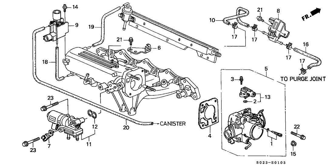 1999 Honda Civic 2 Door SI KA 5MT Throttle Body (DOHC VTEC)