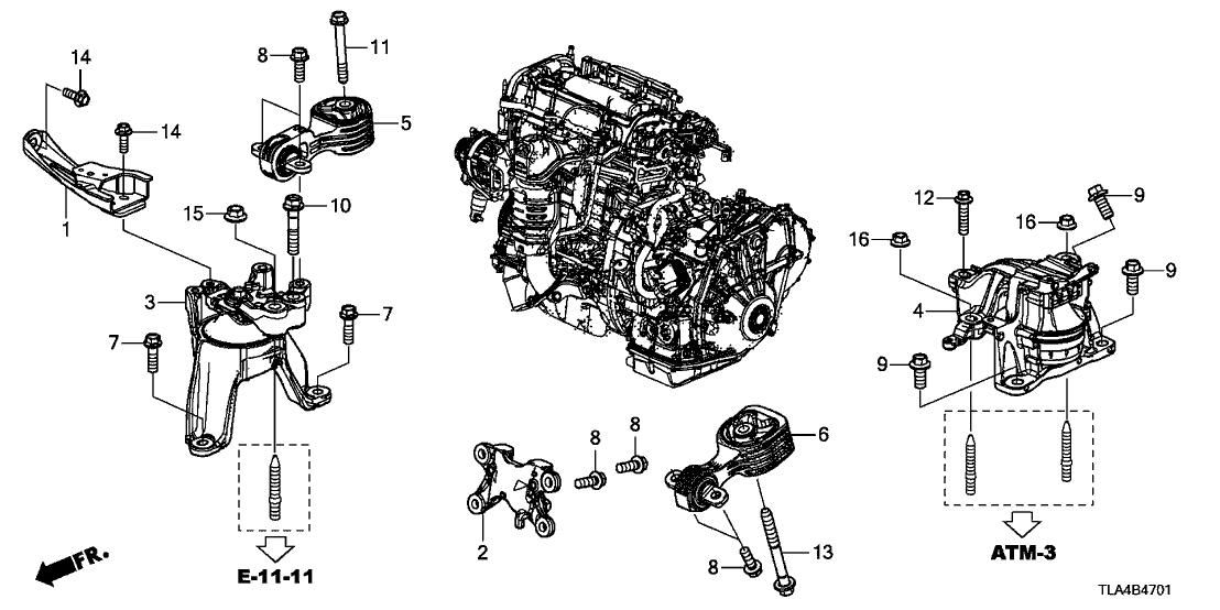 2017 Honda CR-V 5 Door 24LX (AWD/INDIANA) KA CVT Engine Mounts