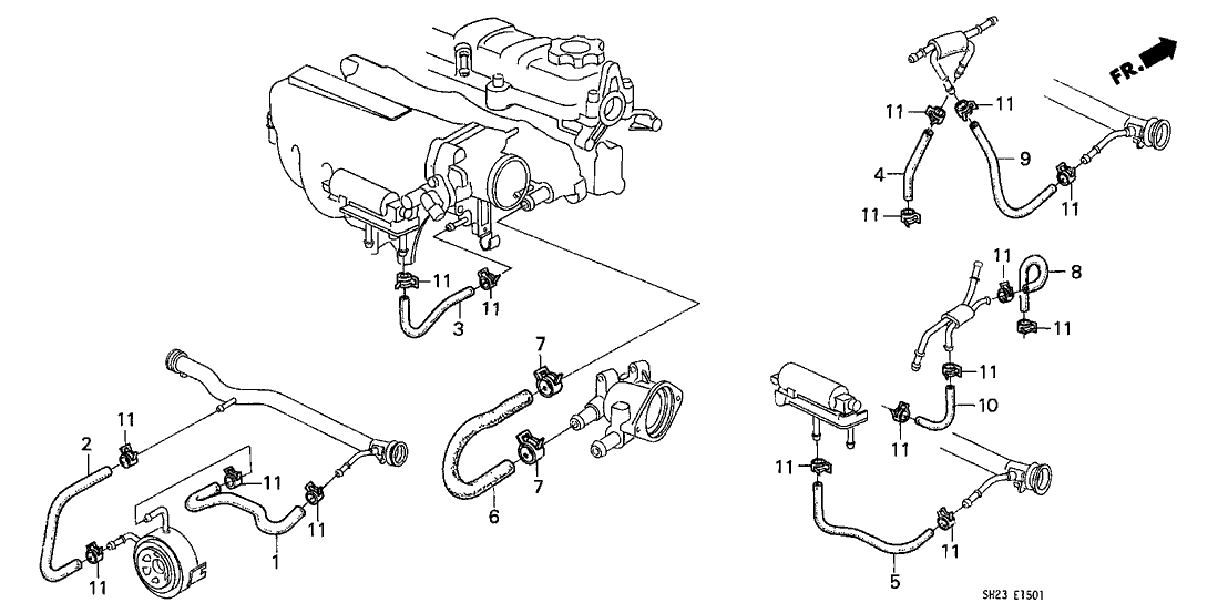 1991 Honda CRX 2 Door HF KA 5MT Breather Heater Hose