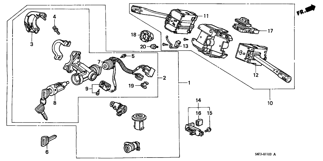 1991 Honda CRX 2 Door SI KA 5MT Combination Switch