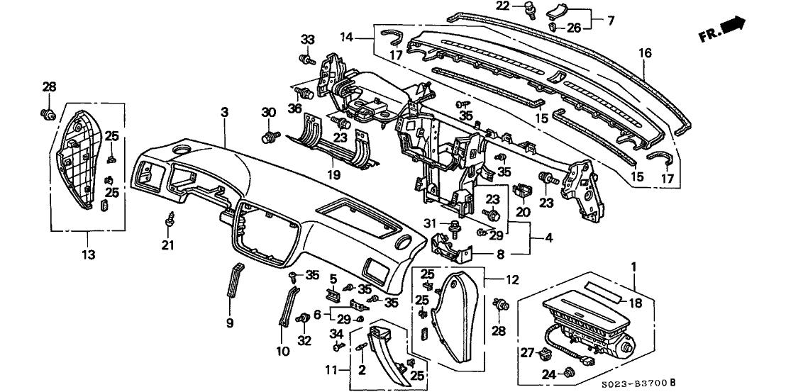 1999 Honda Civic 2 Door SI KA 5MT Instrument Panel