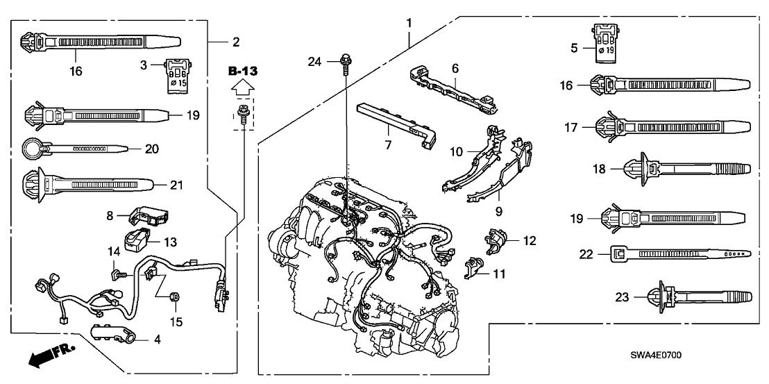 2008 Honda CR-V 5 Door EX-L (2WD) KA 5AT Engine Wire Harness