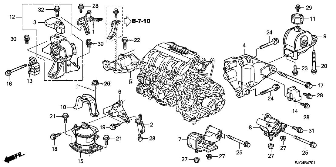 2011 Honda Ridgeline 4 Door RT KA 5AT Engine Mounts
