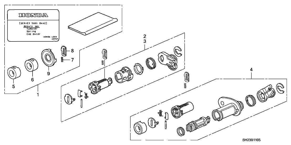 1991 Honda CRX 2 Door HF KA 5MT Key Cylinder Kit