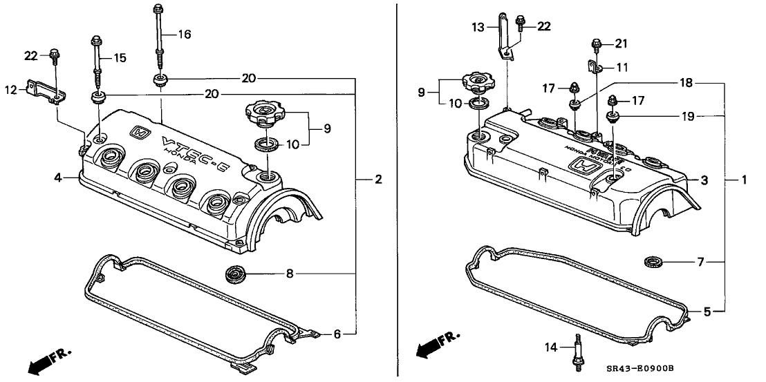 1992 Honda Civic 4 Door EX (ABS) KA 4AT Cylinder Head Cover