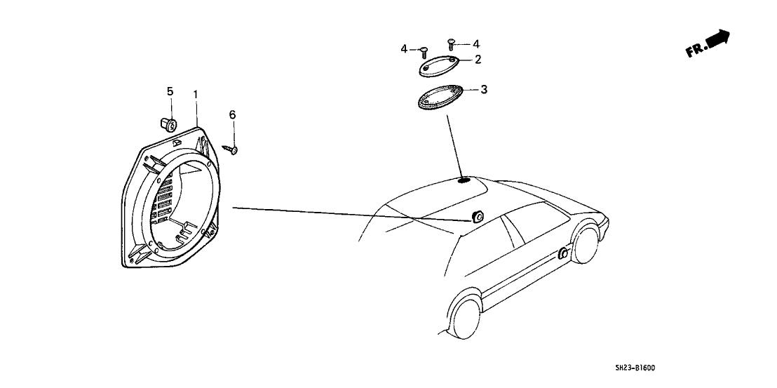 1991 Honda CRX 2 Door SI KA 5MT Speaker Seal Bracket