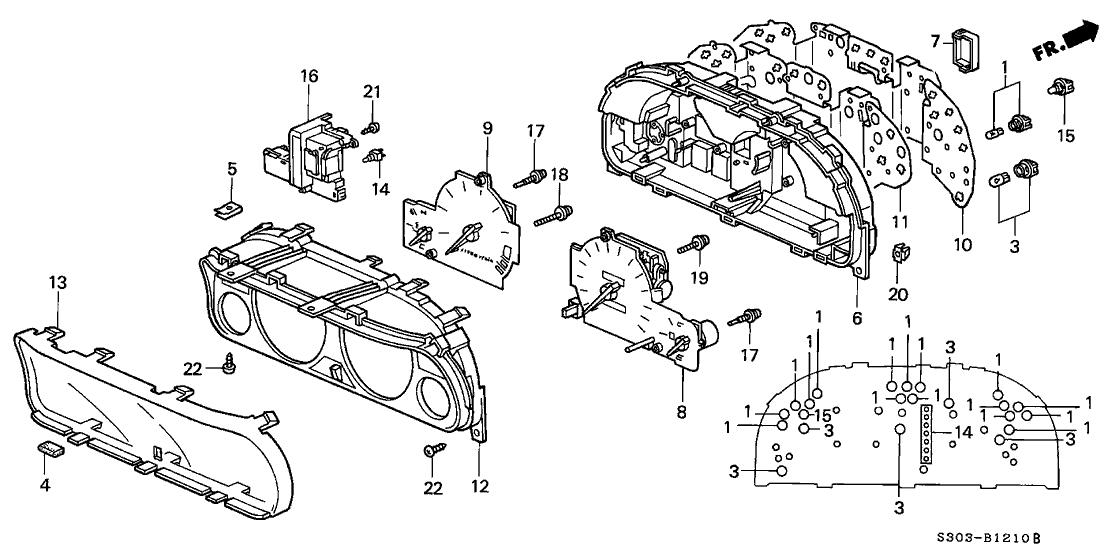 1998 Honda Prelude 2 Door TYPESH KA 5MT Meter Components