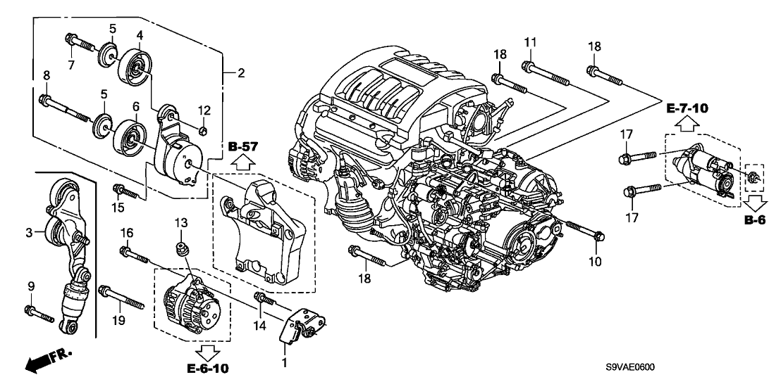 2008 Honda Pilot 5 Door EXL (4WD) KA 5AT Alternator Bracket