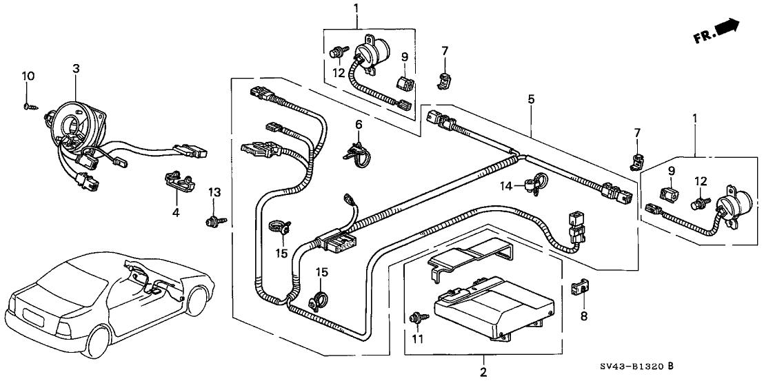 1994 Honda Accord 4 Door LX (ABS) KL 4AT SRS Unit
