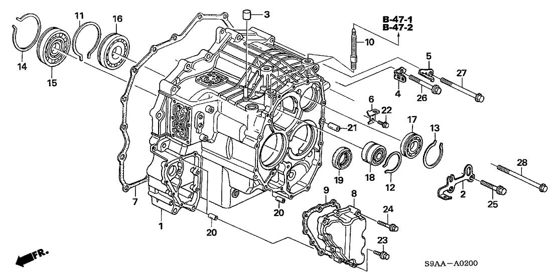 2006 Honda CR-V 5 Door EX (4WD) KA 5AT Transmission Case