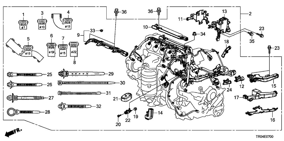 2012 Honda Civic 4 Door EX KA 5AT Engine Wire Harness (1.8L)