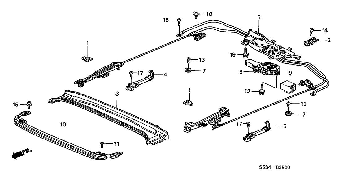 2002 Honda Civic 3 Door SI KA 5MT Roof Slide Components