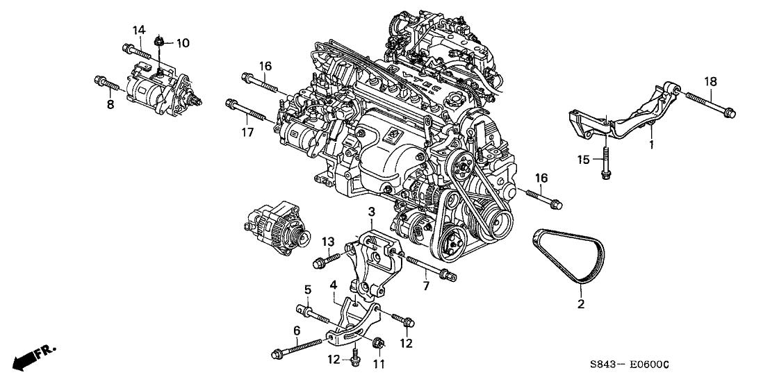 1998 Honda Accord 4 Door LX KA 4AT Alternator Bracket