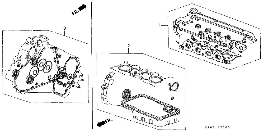 1998 Honda CR-V 5 Door LX (4WD) KA 5MT Gasket Kit