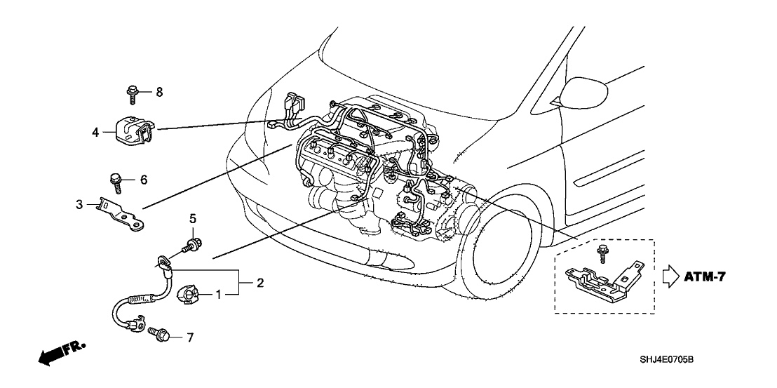 2010 Honda Odyssey 5 Door EXL KA 5AT Engine Wire Harness Stay