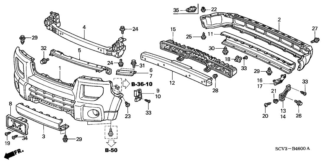 2006 Honda Element 5 Door EX-P (2WD SD AIR BAG) KA 4AT Bumpers
