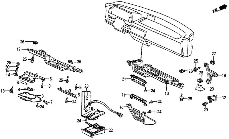 1986 Honda Prelude 2 Door SI KA 5MT Instrument Lower Garnish