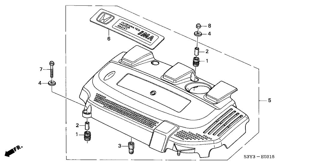 2000 Honda Insight 3 Door DX (A/C) KA 5MT Engine Cover